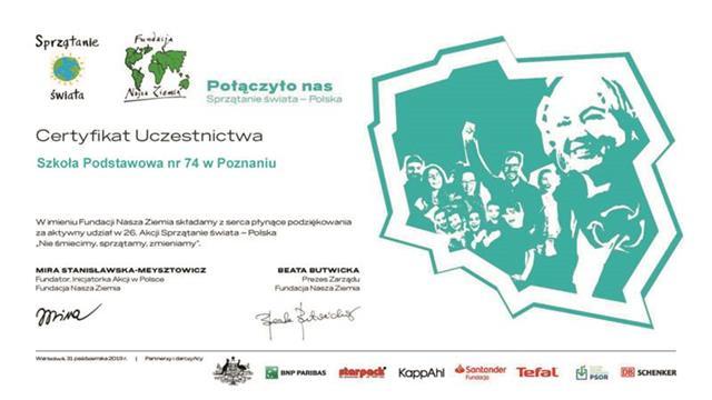 Sprzątanie świata – certyfikat uczestnictwa