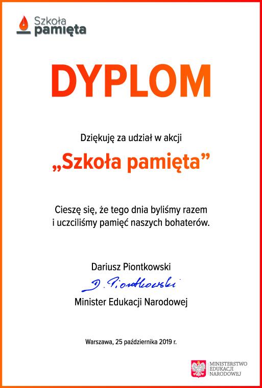 Dyplom Ministra Edukacji Narodowej