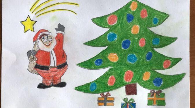 Kartki świąteczne przygotowane przez uczniów klasy 4c i 8c