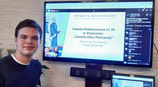 """Sukces naszych uczniów w konkursie Instytutu Poznańskiego pt. """"Żywe Powstanie 2020"""""""